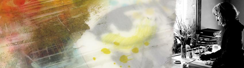 "Detail of ""Possession of Self"" - Lynn Nafey in her studio"