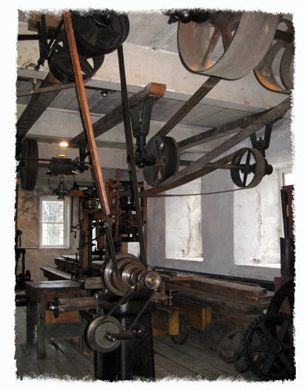 Water-powered pulley system at the historic Slater Mill