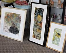 Lynn Nafey's framed artwork at Artists Corner & Gallery in West Acton, MA