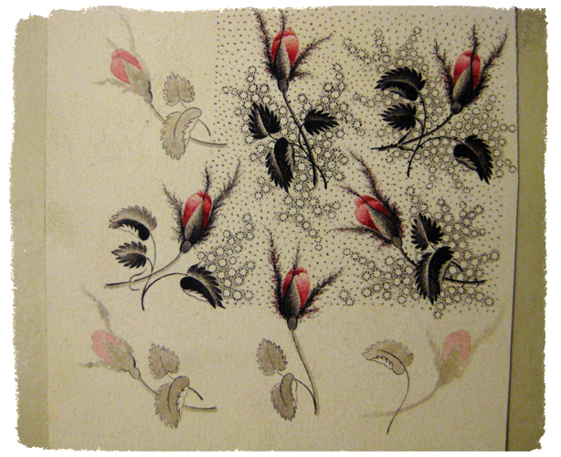 Calico print artwork by John Street from the Slater Mill archives