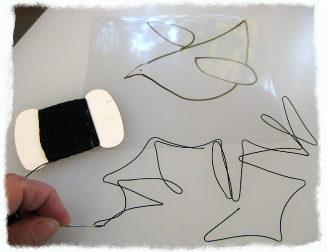 Prepping to Stitch Bird With Silk Thread
